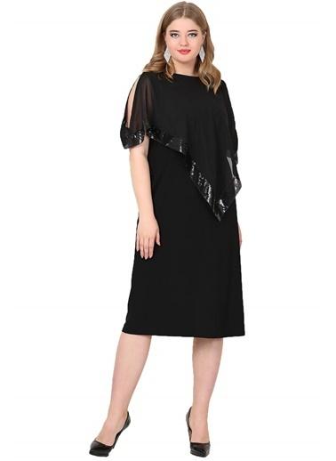 Angelino Butik Büyük Beden Payetli Uzun Abiye Elbise KL8022K Siyah